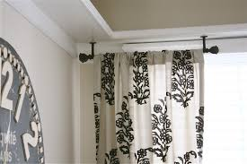 Ceiling Hung Curtain Poles Ideas Hanging Curtain Rods Uneven Ceiling Curtain Rods