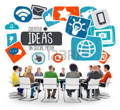 of business with social media concept stock photo