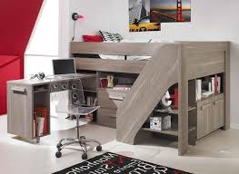 bedroom bunk bed with desk underneath expansive painted wood