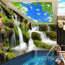 3d long waterfall blue sky bird ceiling entire room wallpaper wall 3d long waterfall blue sky bird ceiling entire room wallpaper wall mural art idcqw 000163
