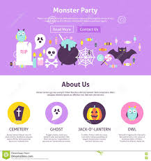 monster party website design stock vector image 78114022
