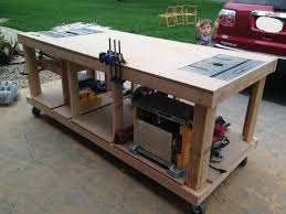 table saw workbench plans building your own wooden workbench drill press toy and store