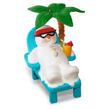 kokomo snowman relaxing palm tree musical ornament