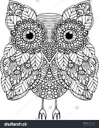 owl illustration decorated doodle stock vector