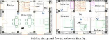 building plan ground floor a and second floor b sensor