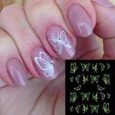 1sheets butterfly bow designs luminous nail shinning