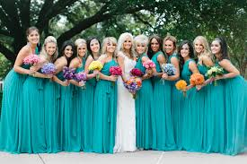 turquoise bridesmaids dresses love how it goes with the white