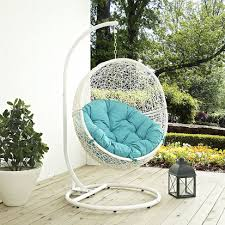 Patio Swing Chair by Hide Outdoor Patio Swing Chair With Stand In White Turquoise