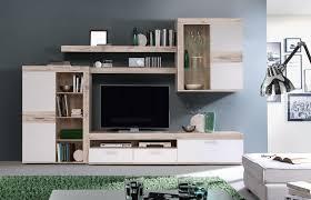 Wohnzimmerschrank Von Roller Newface Zumba Wohnwand Inklusive Led Beleuchtung Holz Sandeiche