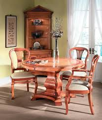 cherry wood circular extending dining table