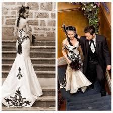 Black And White Wedding Dress Black Gothic Mermaid Wedding Dresses Online Black White Mermaid
