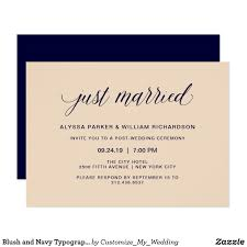 after wedding invitations blush and navy typography just married celebration card these