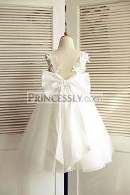 flower girl dress ivory lace tulle v back wedding flower girl dress with big bow