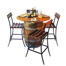 wine barrel table top set with storage cabinet and lazy susan round top table set