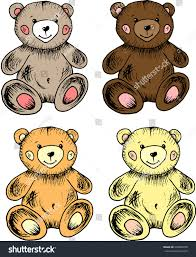 sketch toy bears color handmade graphics stock vector 439082290