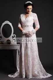 key back wedding dress a line scalloped v neck key back beaded sweep lace wedding dress