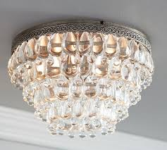 Crystal Ceiling Mount Light Fixture by Clarissa Crystal Drop Extra Large Flushmount Pottery Barn