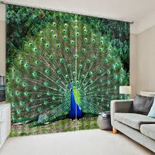 Peacock Curtains High Quality Luxury Modern 3d Blackout Peacock Curtains