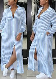light blue and white striped maxi dress light blue striped print single breasted slit pockets turndown