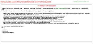 Work Experience Resume Sales Associate Retail Sales Associate Work Experience Certificate