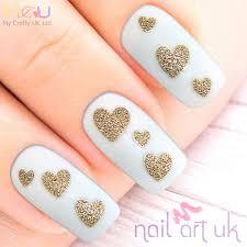 glitter heart adhesive nail stickers nail art uk