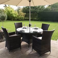 4 Seater Patio Furniture Set - maze rattan la 4 seat round rattan garden furniture set internet