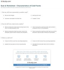 quiz u0026 worksheet characteristics of cold fronts study com