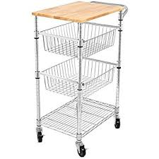 kitchen island cutting board s best 3 tier kitchen cart with wire baskets