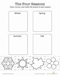 Four Worksheet Match The Four Seasons Worksheet Education Com