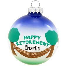 personalized happy retirement glass ornament hobbies