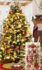 tree decoration set 52 items golden balls