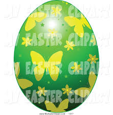 clip art of a green and yellow butterfly patterned easter egg by