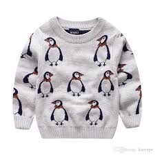 boys penguin design sweater pullover child clothes