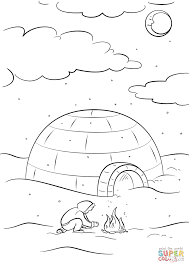 inuit sitting by a bonfire in front of igloo coloring page free