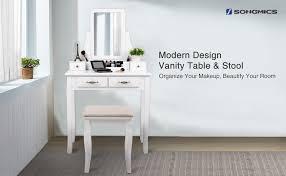 White Vanity Table With Drawers Amazon Com Songmics Vanity Set 2 Large Sliding Drawers