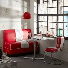striking red lamp and seating idea for small dining room red