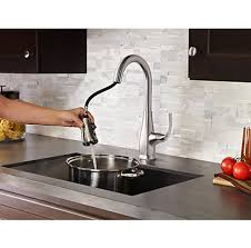 pfister selia kitchen faucet stainless steel selia 1 handle pull kitchen faucet f 529