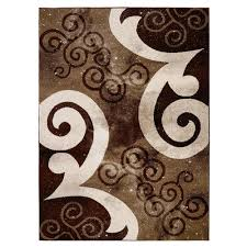 Chocolate Brown Area Rugs City Collection Contemporary Abstract Swirls Chocolate Brown Beige