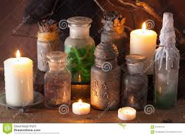 witch apothecary jars magic potions halloween decoration stock