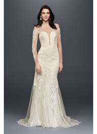 sleeved wedding dresses sleeve wedding dress with tiered david s bridal