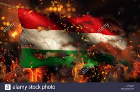 Burning Red Flag Hungary Burning Fire Flag War Conflict Night 3d Stock Photo