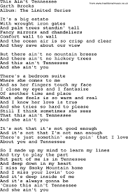 Song With Bedroom Eyes This Ain U0027t Tennessee By Garth Brooks Lyrics