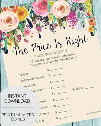 price is right baby shower the price is right baby shower garden flowers print it baby