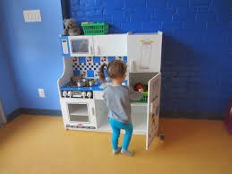 beauteous kids basement playground with mini kitchen design