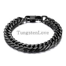 black bracelet men images 21cm 10mm heavy wide black stainless steel bracelet men biker jpg