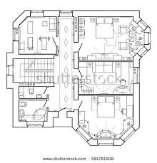 Floor Plan Of A House Design Black White Architectural Plan House Layout Stock Vector 595766423