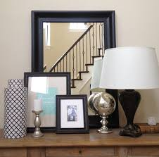 White Foyer Table by Adorable White Drum Shade Table Lamps Feat Black Photos Frames On