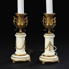 lighting pair of louis xvi candlestick lamps for antique living
