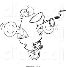 vector clipart of a cartoon bear playing music and riding a