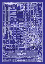 Home Decor Stores St Louis Mo 1949 Vintage Map Of Downtown St Louis 11x17 Blueprint Map My